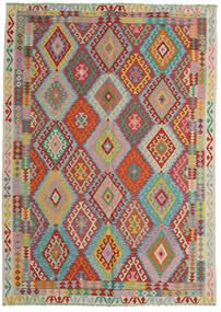 Kelim Afghan Old Style Matto 206X287 Itämainen Käsinkudottu Tummanpunainen/Siniturkoosi (Villa, Afganistan)
