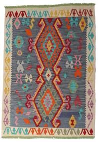 Kelim Afghan Old Style Matto 106X151 Itämainen Käsinkudottu Tummanharmaa/Tummanpunainen (Villa, Afganistan)