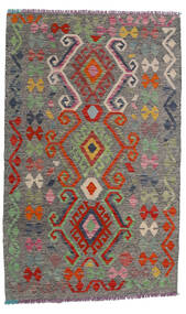 Kelim Afghan Old Style Matto 99X160 Itämainen Käsinkudottu Tummanharmaa/Tummanpunainen (Villa, Afganistan)
