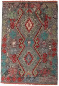 Kelim Afghan Old Style Matto 96X139 Itämainen Käsinkudottu Tummanharmaa/Tummanpunainen (Villa, Afganistan)