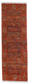 Shabargan Matto 76X225 Moderni Käsinsolmittu Käytävämatto Punainen/Tummanruskea (Villa, Afganistan)
