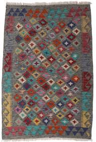 Kelim Afghan Old Style Matto 82X120 Itämainen Käsinkudottu Tummanharmaa/Tummanpunainen (Villa, Afganistan)
