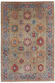 Kazak Matto 202X297 Itämainen Käsinsolmittu Vaaleanharmaa/Tummanharmaa/Vaaleanruskea (Villa, Afganistan)