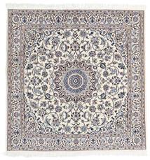 Nain 9La Matto 160X163 Itämainen Käsinsolmittu Neliö Vaaleanharmaa/Valkoinen/Creme (Villa/Silkki, Persia/Iran)