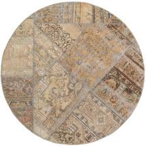 Patchwork - Persien/Iran Matto Ø 150 Moderni Käsinsolmittu Pyöreä Vaaleanharmaa/Vaaleanruskea (Villa, Persia/Iran)