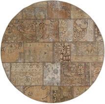 Patchwork - Persien/Iran Matto Ø 150 Moderni Käsinsolmittu Pyöreä Vaaleanruskea/Vaaleanharmaa (Villa, Persia/Iran)