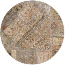 Patchwork - Persien/Iran Matto Ø 150 Moderni Käsinsolmittu Pyöreä Vaaleanharmaa/Ruskea (Villa, Persia/Iran)