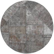 Patchwork - Persien/Iran Matto Ø 150 Moderni Käsinsolmittu Pyöreä Vaaleanharmaa/Tummanharmaa (Villa, Persia/Iran)