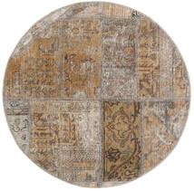 Patchwork - Persien/Iran Matto Ø 100 Moderni Käsinsolmittu Pyöreä Vaaleanharmaa/Vaaleanruskea (Villa, Persia/Iran)