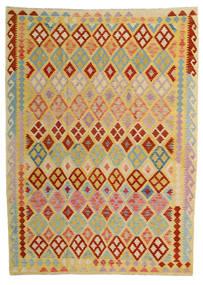 Kelim Afghan Old Style Matto 209X287 Itämainen Käsinkudottu Tummanbeige/Punainen (Villa, Afganistan)