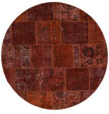 Patchwork - Persien/Iran Matto Ø 200 Moderni Käsinsolmittu Pyöreä Tummanruskea/Tummanpunainen (Villa, Persia/Iran)