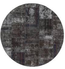 Patchwork - Persien/Iran Matto Ø 200 Moderni Käsinsolmittu Pyöreä Musta/Ruskea (Villa, Persia/Iran)