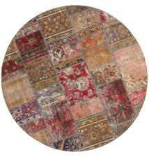 Patchwork - Persien/Iran Matto Ø 200 Moderni Käsinsolmittu Pyöreä Ruskea/Tummanpunainen (Villa, Persia/Iran)