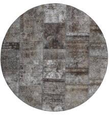Patchwork - Persien/Iran Matto Ø 200 Moderni Käsinsolmittu Pyöreä Tummanharmaa/Vaaleanharmaa (Villa, Persia/Iran)