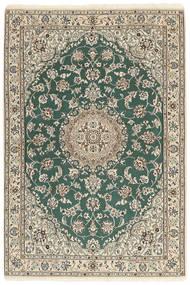 Nain 9La Matto 121X176 Itämainen Käsinsolmittu Vaaleanharmaa/Beige/Tummanvihreä (Villa/Silkki, Persia/Iran)