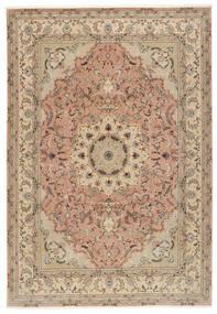 Tabriz 50 Raj Matto 250X355 Itämainen Käsinsolmittu Ruskea/Tummanbeige Isot (Villa/Silkki, Persia/Iran)