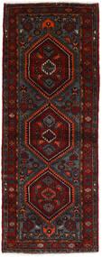 Hamadan Matto 100X261 Itämainen Käsinsolmittu Käytävämatto Musta/Tummanpunainen (Villa, Persia/Iran)