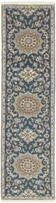 Nain 9La Matto 78X294 Itämainen Käsinsolmittu Käytävämatto Vaaleanharmaa/Tummanharmaa/Vaaleansininen (Villa/Silkki, Persia/Iran)
