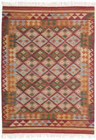 Kelim Adana Matto 140X200 Moderni Käsinkudottu Tummanpunainen/Vaaleanruskea (Villa, Intia)