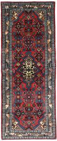 Hamadan Matto 79X206 Itämainen Käsinsolmittu Käytävämatto Musta/Tummanpunainen (Villa, Persia/Iran)