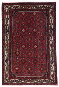 Hosseinabad Matto 98X150 Itämainen Käsinsolmittu Tummanpunainen (Villa, Persia/Iran)
