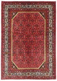 Hosseinabad Matto 144X205 Itämainen Käsinsolmittu Tummanpunainen/Tummanruskea (Villa, Persia/Iran)