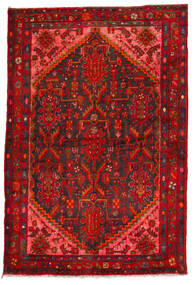 Hamadan Matto 135X205 Itämainen Käsinsolmittu Tummanpunainen/Ruoste (Villa, Persia/Iran)