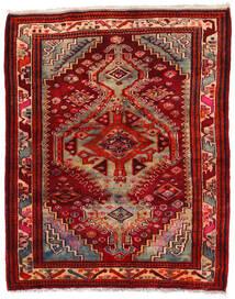 Hamadan Matto 150X180 Itämainen Käsinsolmittu Tummanpunainen/Ruoste (Villa, Persia/Iran)