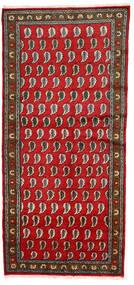 Lillian Matto 128X274 Itämainen Käsinsolmittu Käytävämatto Tummanharmaa/Punainen (Villa, Persia/Iran)