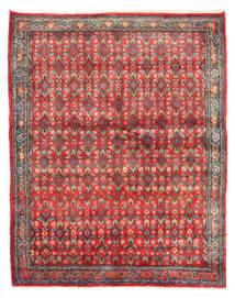 Hamadan Matto 143X182 Itämainen Käsinsolmittu Tummanpunainen/Punainen (Villa, Persia/Iran)