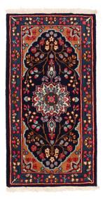 Kerman Matto 63X122 Itämainen Käsinsolmittu Musta/Tummanpunainen (Villa, Persia/Iran)