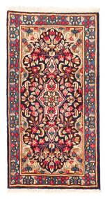 Kerman Matto 58X112 Itämainen Käsinsolmittu Tummanpunainen/Vaaleanpunainen (Villa, Persia/Iran)