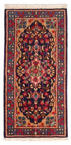 Kerman Matto 65X124 Itämainen Käsinsolmittu Musta/Tummanpunainen (Villa, Persia/Iran)