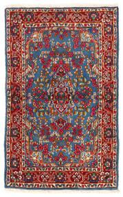 Kerman Matto 92X149 Itämainen Käsinsolmittu Tummanpunainen/Sininen (Villa, Persia/Iran)