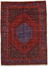 Zanjan Matto 151X206 Itämainen Käsinsolmittu Tummanpunainen/Musta (Villa, Persia/Iran)