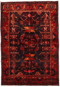 Hamadan Matto 143X208 Itämainen Käsinsolmittu Tummanruskea/Tummanpunainen (Villa, Persia/Iran)