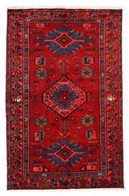 Hamadan Matto 130X203 Itämainen Käsinsolmittu Tummanpunainen/Punainen (Villa, Persia/Iran)