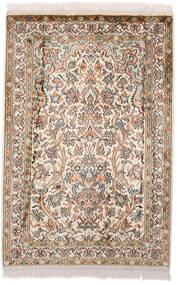 Kashmir 100% Silkki Matto 64X97 Itämainen Käsinsolmittu Tummanruskea/Beige (Silkki, Intia)