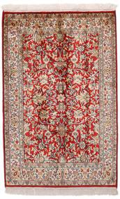 Kashmir 100% Silkki Matto 65X99 Itämainen Käsinsolmittu Tummanpunainen/Vaaleanharmaa (Silkki, Intia)