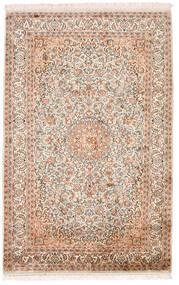 Kashmir 100% Silkki Matto 98X152 Itämainen Käsinsolmittu Beige/Tummanruskea (Silkki, Intia)