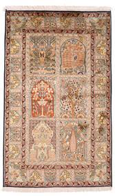 Kashmir 100% Silkki Matto 93X151 Itämainen Käsinsolmittu Tummanruskea/Beige (Silkki, Intia)