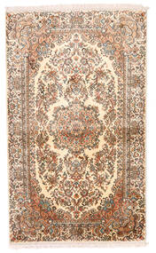 Kashmir 100% Silkki Matto 93X155 Itämainen Käsinsolmittu Beige/Ruskea/Vaaleanpunainen (Silkki, Intia)