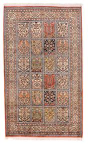 Kashmir 100% Silkki Matto 93X155 Itämainen Käsinsolmittu Beige/Tummanpunainen (Silkki, Intia)