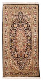 Kashmir 100% Silkki Matto 77X152 Itämainen Käsinsolmittu Ruskea/Tummanruskea (Silkki, Intia)