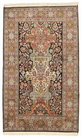 Kashmir 100% Silkki Matto 96X157 Itämainen Käsinsolmittu Ruskea/Tummanharmaa (Silkki, Intia)