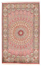 Kashmir 100% Silkki Matto 94X150 Itämainen Käsinsolmittu Beige/Vaaleanharmaa (Silkki, Intia)