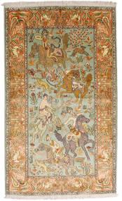 Kashmir 100% Silkki Matto 93X155 Itämainen Käsinsolmittu Tummanbeige/Ruskea (Silkki, Intia)