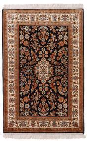 Kashmir 100% Silkki Matto 63X96 Itämainen Käsinsolmittu Tummanpunainen/Musta (Silkki, Intia)