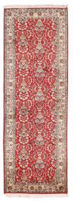 Kashmir 100% Silkki Matto 65X189 Itämainen Käsinsolmittu Käytävämatto Tummanpunainen/Beige (Silkki, Intia)