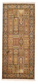 Kashmir 100% Silkki Matto 78X179 Itämainen Käsinsolmittu Käytävämatto Vaaleanruskea/Ruskea (Silkki, Intia)